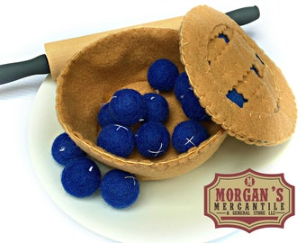 Make Your Own Blueberry Pie / Felt Blueberry Pie / Play Food / Pretend Play Food / Montessori Toys / Imagination Toys / Handmade Gifts