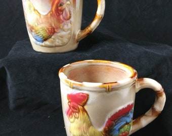 Lustre ware chicken  rooster bamboo style ceramic mug