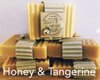 FREE POST 5 x Olive Oil Honey & Tangerine Soaps. Natural Handmade Soap. NO Palm Perfect Gift