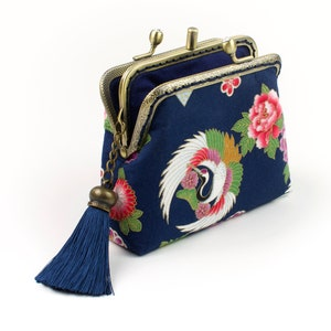 Turtle in navy blue Framed coin purse Japanese