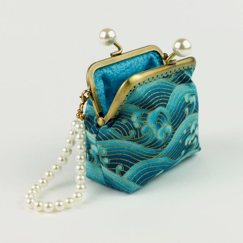bronze kiss lock frame and faux pearl beads collectable #0130 Handmade gold embossed sea green crashing waves Japanese coin purse