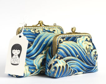 Pair of hand crafted gold embossed Japanese coin purses of waves on bronze coloured double kiss lock frames #0031