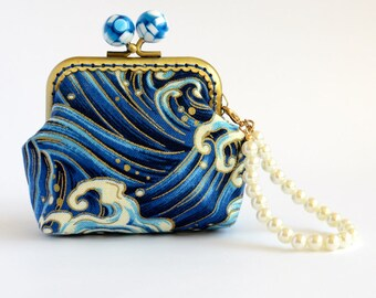 Hand crafted gold embossed crashing waves Japanese coin purse with bronze kiss lock frame and blue and white beads - collectable #0077