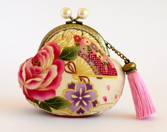 Hand crafted gold embossed floral Japanese coin purse with bronze kiss lock frame and pearl (faux) beads - collectable #0017