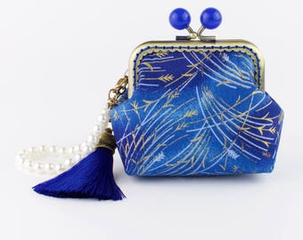 "Handmade gold embossed ""blue reeds"" Japanese coin purse with bronze kiss lock frame and blue bead clasp - collectable #0135"