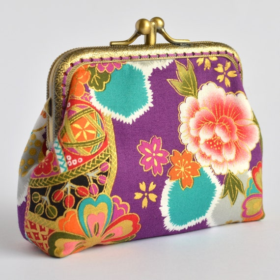 Hand crafted gold embossed Japanese coin purse small bag makeup jewellery clutch wallet #0037