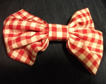 Red and white gingham check hair bow clip