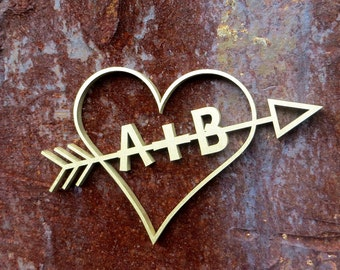 Heart with initials - wood lettering - personalized weddingpresent