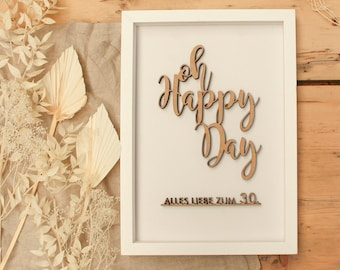 """DIY set """"oh happy day"""" with individual number for the birthday in the frame"""