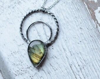 Big labradorite necklace   / nickel&lead free  chain  /