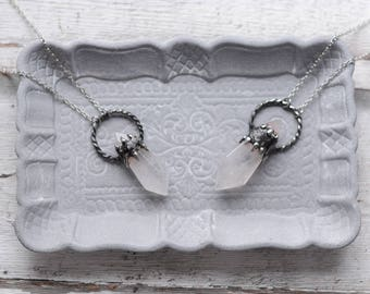 Large quartz crystal necklace   / nickel&lead free  chain  /