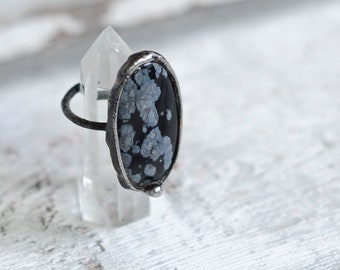 Snowflake obsidian ring in size 6,8 US (54mm)