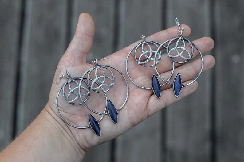 gift for her Triquetra witch jewelry ooak earrings unique gifts crystal earrings Handmade sandstone earrings with trinity knots