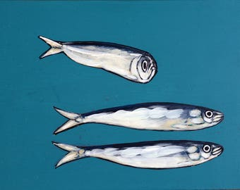 Art. Animals painting. Sardines. Christmas gift. Original Handmade Painting. For her. Turquoise blue background. Home decor. Kitchen decor.