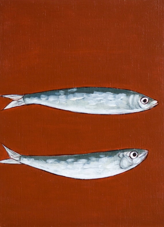 art painting pisces two sardines in terracotta color etsy
