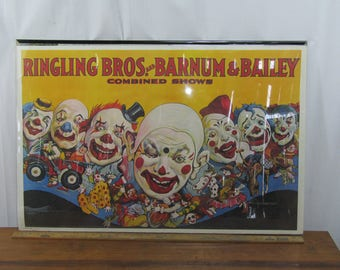 Vintage 1970s Ringling Bros Combined Shows poster CLOWNS