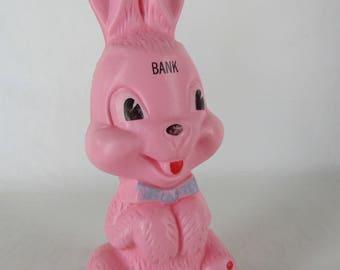 Vintage 10.25 inch plastic pink rabbit Easter bank