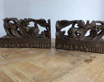 Italian made, carved wood bookends