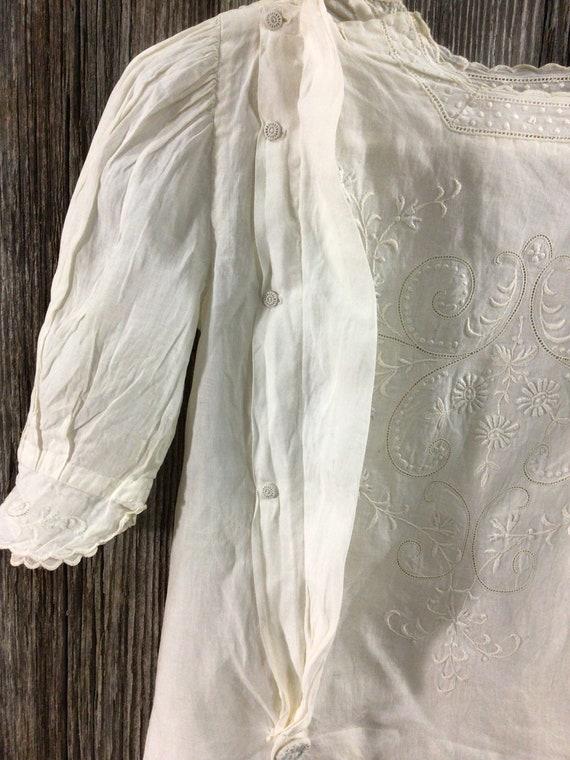 Antique Edwardian embroidered maternity blouse - image 8