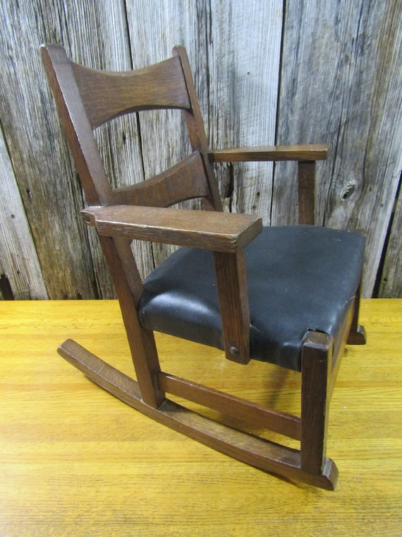 Peachy Mission Style Vintage Childs Oak Rocking Chair Machost Co Dining Chair Design Ideas Machostcouk
