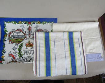 CLEARANCE lot of 3 misc. vintage linen and cotton tea towels