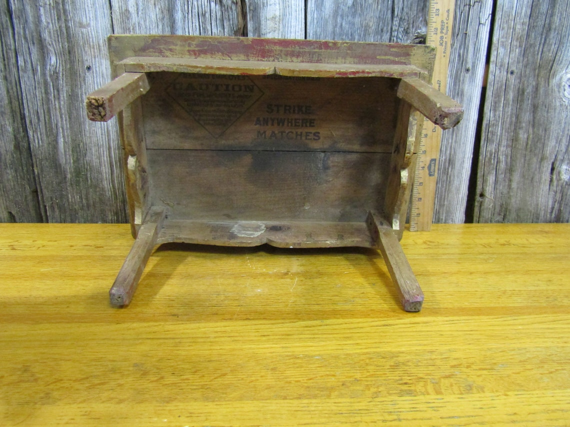 Great Appalachian doll table made from old match crate