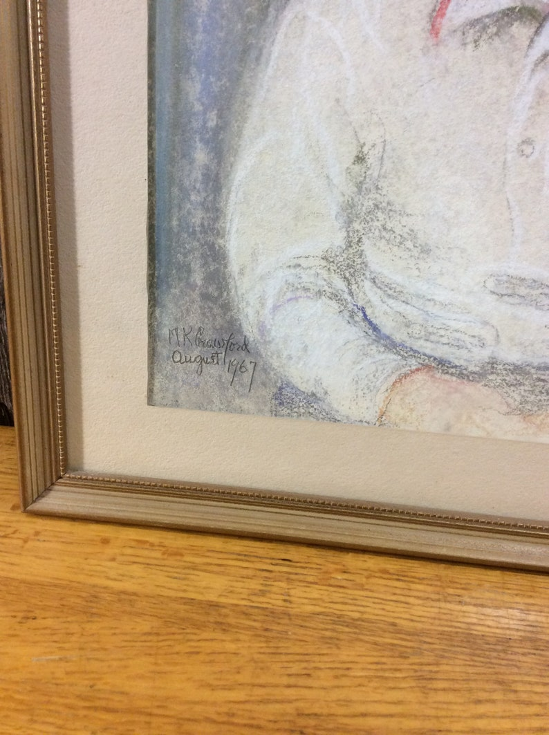 Vintage charming oil pastel painting of a little boy dated 1967