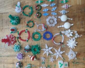 50 + vintage plastic beaded ornaments