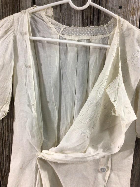 Antique Edwardian embroidered maternity blouse - image 10