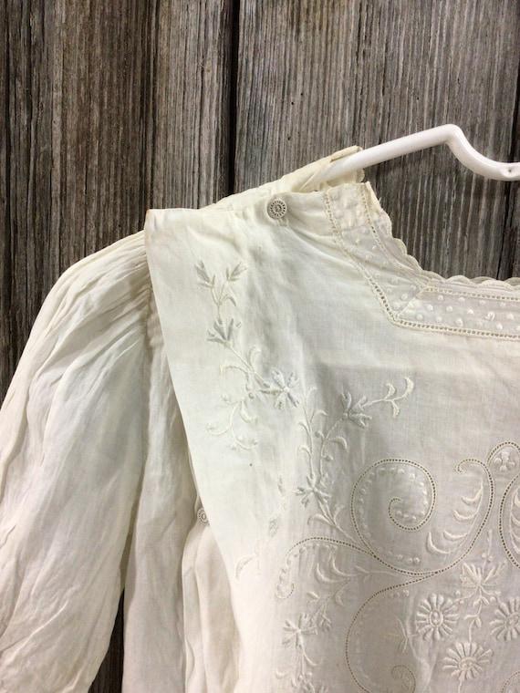 Antique Edwardian embroidered maternity blouse - image 3
