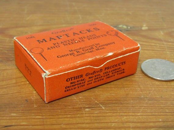 Boîte de vintage Graffco Maptacks divers coloris