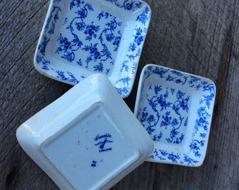 3 vintage square blue and white dishes by Clarence England