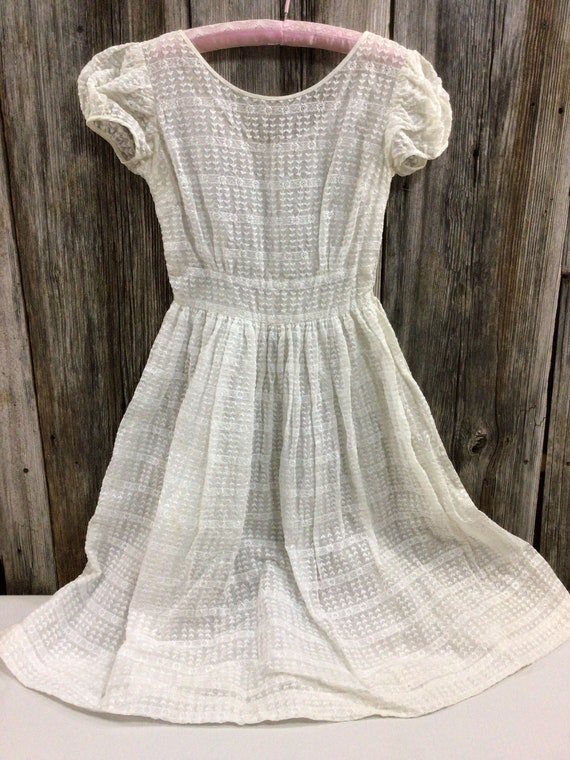 Vintage off white embroidered organza 60s dress