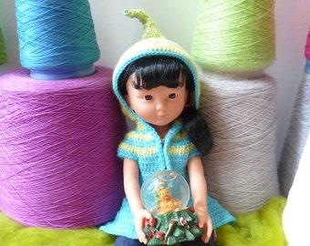 Lutine Chéries, patron de crochet en PDF pour un manteau elfique à capuche pour poupée 42-45 cm type Les Chéries