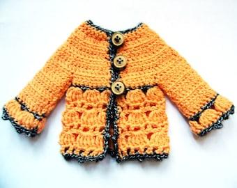 Roseline Chéries Cardigan - Patron de crochet PDF pour des vêtements pour poupées de 32-35 cm comme les Chéries