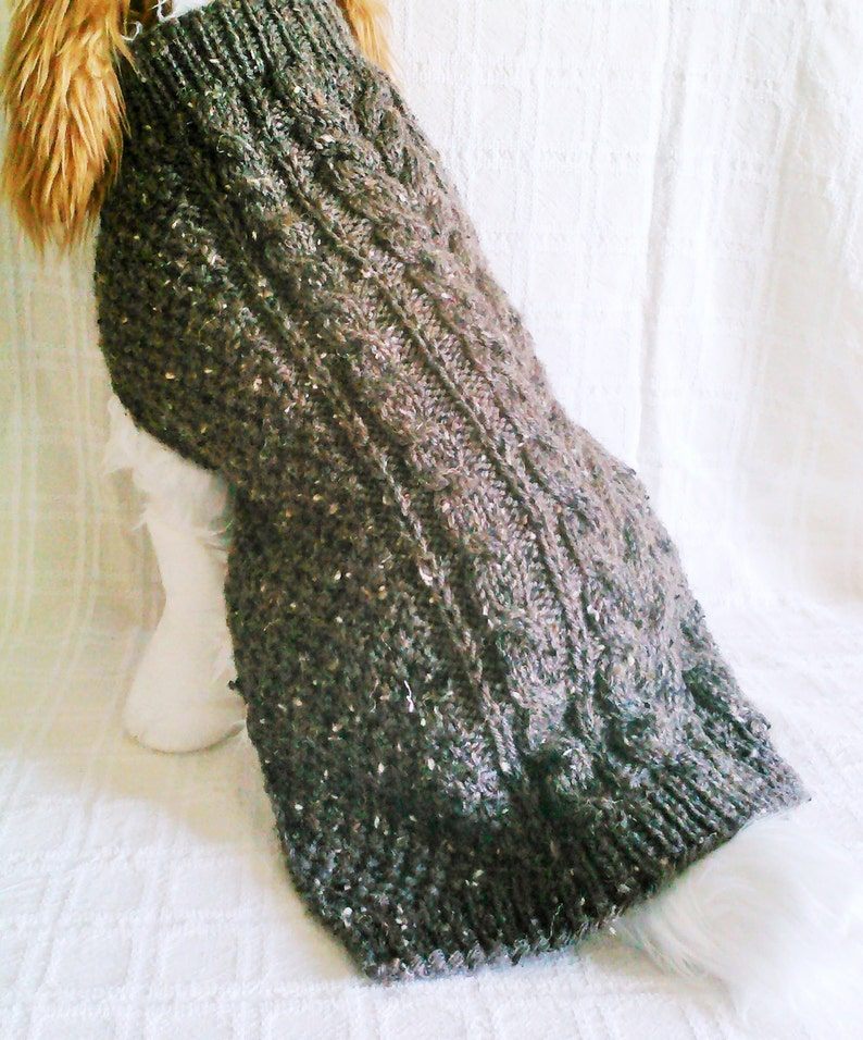 Brown Tweed Cable Dog Sweater  Handknit  Dog Clothing Medium  Ready to Ship