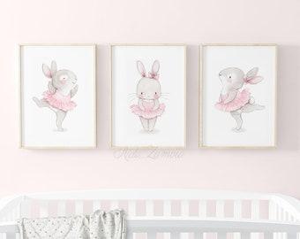 3 Princess Ballerina Quote Prints Fairy Tale Posters Nursery Wall Art Girls Room
