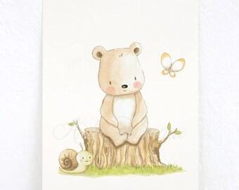 "Children's Art ""TEDDY BEAR"" Nursery Print, watercolor art."