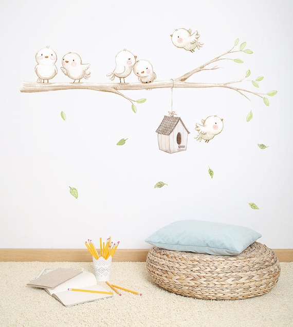 fabric wall decal birds on the branch unisex wall decal   etsy