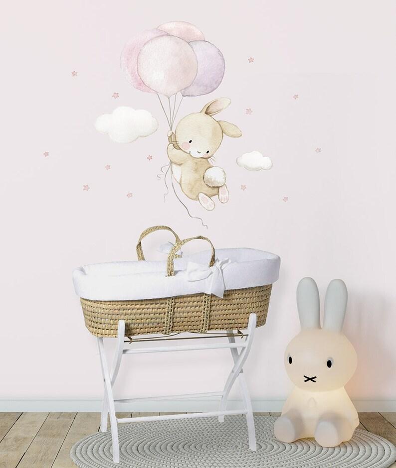 Bunny wall decal Bunny wall art Watercolor decal Fabric Wall Decal BUNNY with BALLOONS Nursery wall decal Balloons art Aida Zamora
