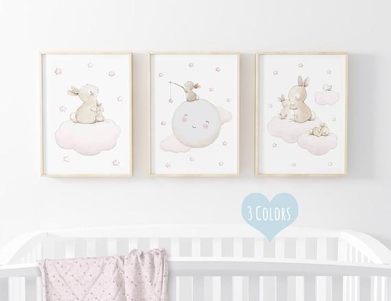 "SET of three Nursery prints ""BUNNIES"" Archival Print, Nursery wall art, Nursery Bunny Print, Bunny wall art, Bunny stars, Moon nursery art."