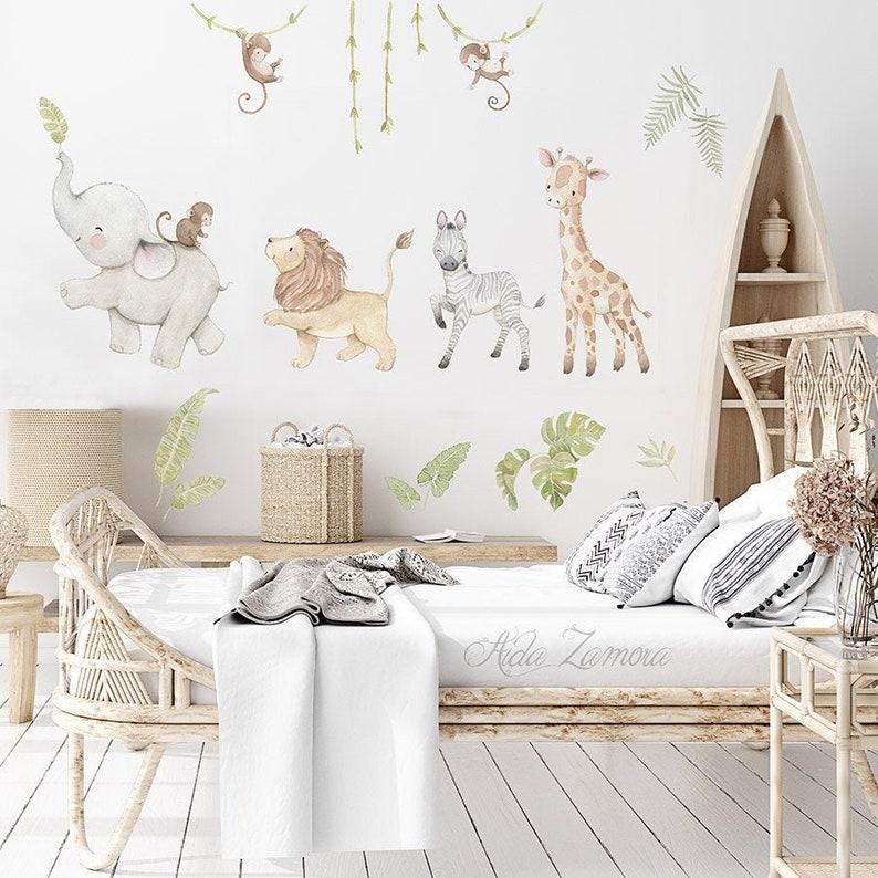 Reusable Fabric Wall Decal SAFARI ANIMALS Nursery wall image 0