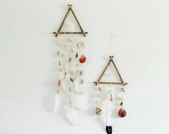 Beach wall decor, set of 2 seashell dreamcatcher, boho decor, nautical nursery, beach house decor, shells dream catcher