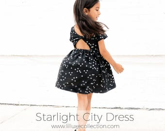 KNIT Starlight city dress modern twist back pdf sewing pattern for knit fabrics
