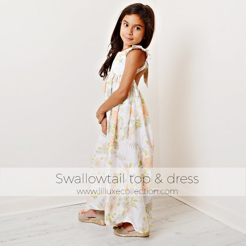 Swallowtail top vintage inspired flutter sleeve with elastic back easy sew pdf sewing pattern maxi dress knee length dress