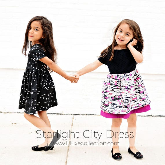 BUNDLE KNIT & WOVEN Starlight city dress modern twist back pdf sewing  pattern for knit fabrics