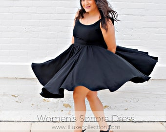 Women's Sonora Dress & Skirt open tie back dress with princess seams pdf sewing pattern