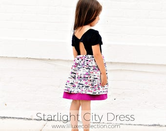 WOVEN Starlight City Dress modern twist back pdf sewing pattern for woven fabrics