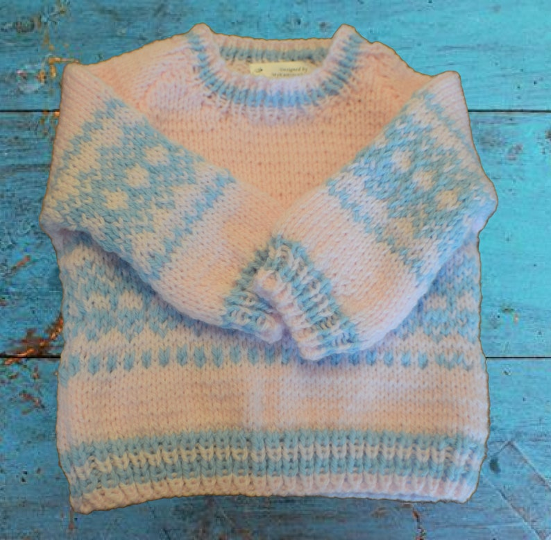 Hand Knit Fair Isle Sweater in White or Pink Size 6 to 12 months