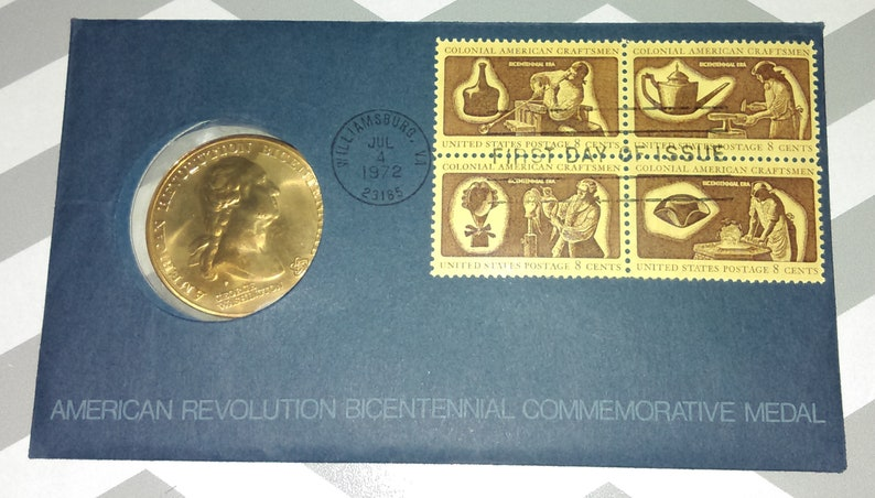 1972 Gold Plated American Revolution Bicentennial Commemorative Medal & FDC